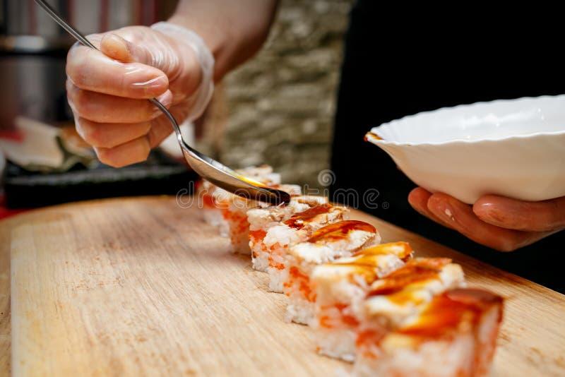 Oshizushi, sushi pressé dans une boîte image libre de droits