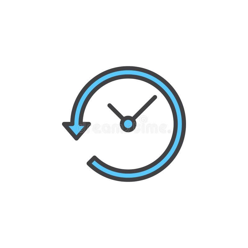 Osiąga z strzała wokoło kreskowej ikony, wypełniający konturu wektoru znak, liniowy kolorowy piktogram odizolowywający na bielu ilustracji