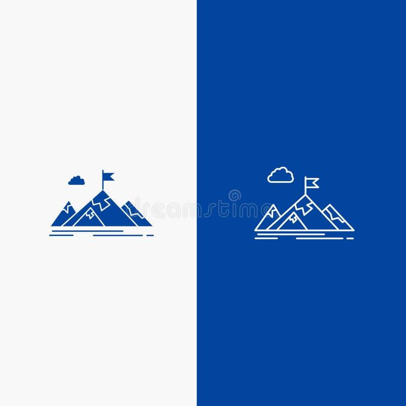 Osiągnięcia, celu, biznesu, celu, misji, gór, cel linii i glifu Stałej ikony sztandaru glifu, i linii Błękitnej ikony Stały błęki royalty ilustracja