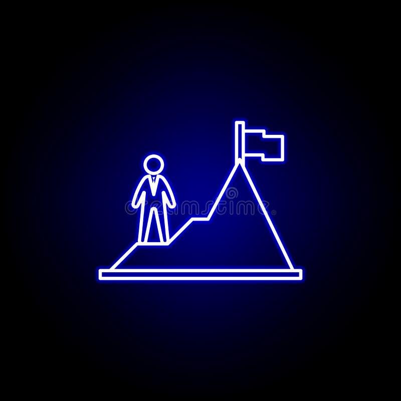 Osiągnięcie, góra, pracownik ikona Elementy dzia? zasob?w ludzkich ilustracyjni w neonowej stylowej ikonie Znaki i symbole mog? u ilustracja wektor