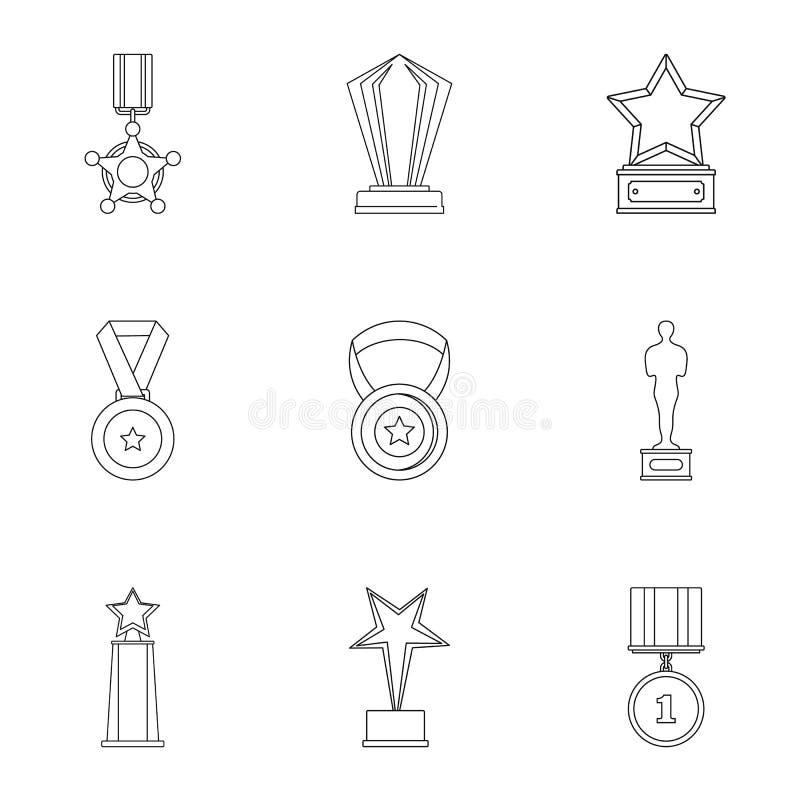 Osiągnięcie ikony ustawiać, konturu styl ilustracja wektor