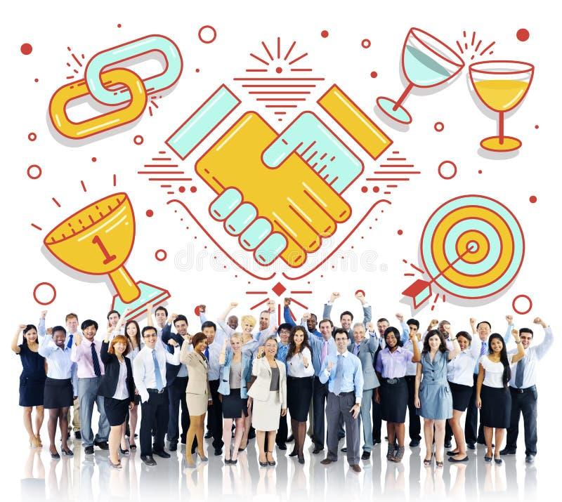 Osiągnięcie sukcesu pracy zespołowej partnerstwa pojęcie obraz stock