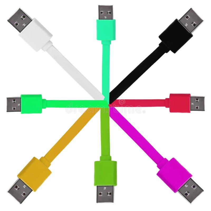 Osiem barwiących usb kabli na białym odosobnionym tle zdjęcie royalty free