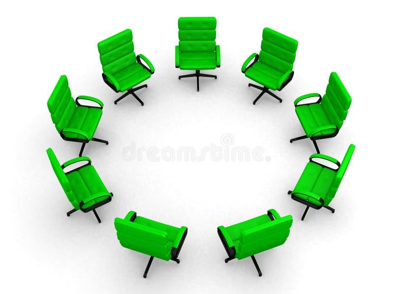 Osiem biurowych krzeseł w okręgu zdjęcia stock