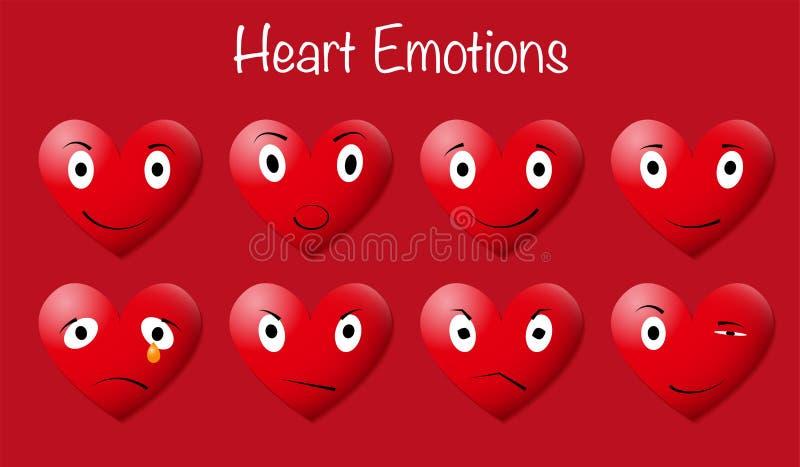 Osiem Czerwonych Kierowych Emoticons na Czerwonym tle ilustracja wektor