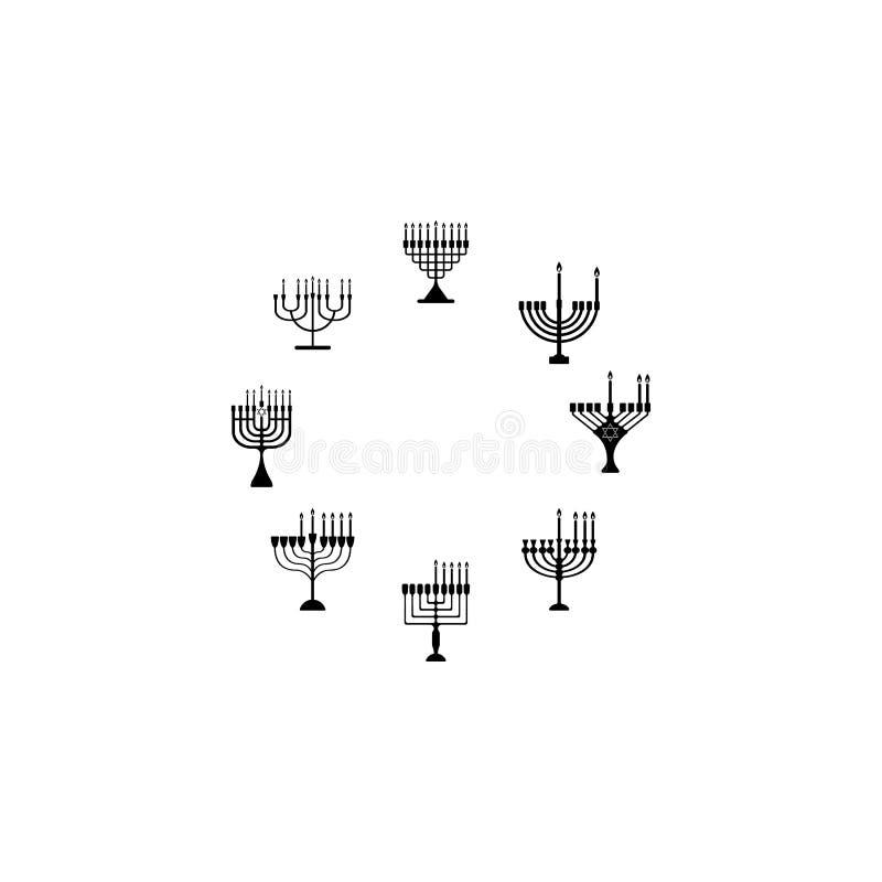 Osiem dni Chanukah ikona Element Hanukkah ikona dla mobilnych pojęcia i sieci apps Wyszczególniał osiem dni Chanukah ico ilustracja wektor