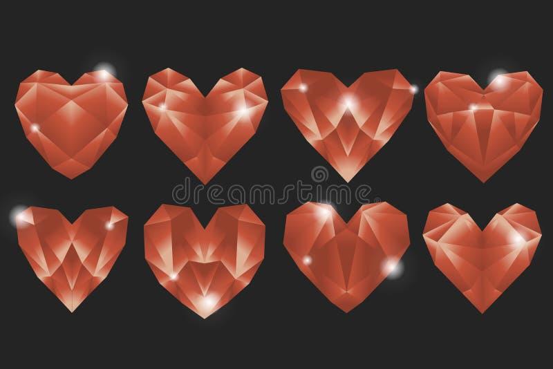 Osiem geometrycznych kształtnych serc na zmroku popielatego tła diamentów kierowej miłości są zawsze ilustracji