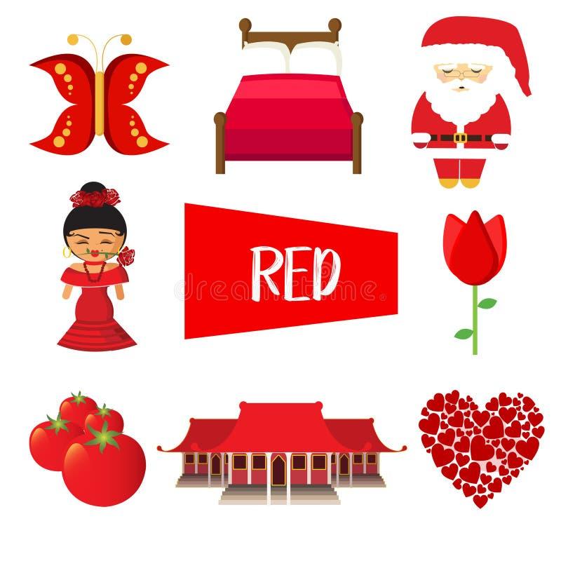 Osiem ilustracji w czerwonym kolorze ilustracji