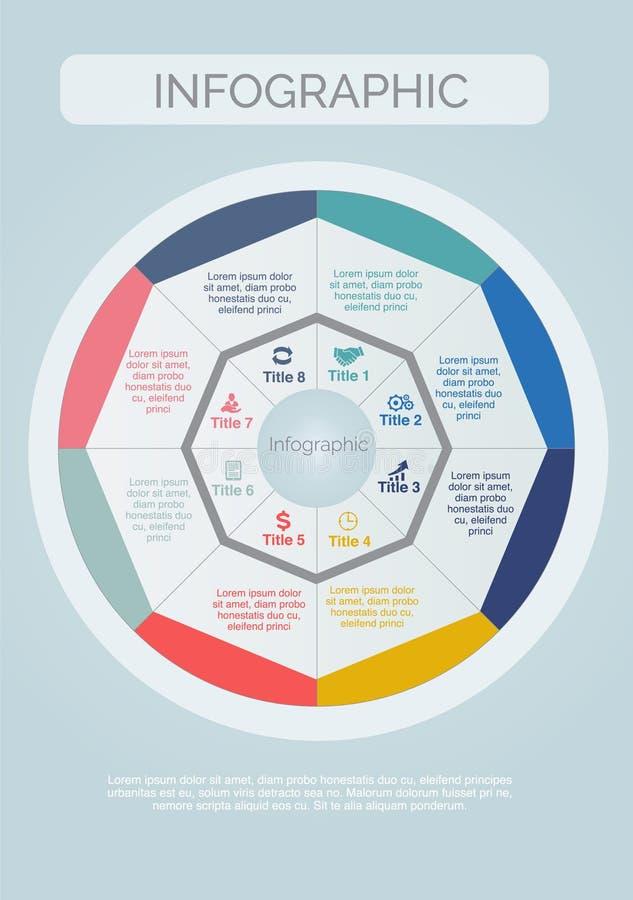 Osiem Infographics Kolorowy z okręgami i ikona projektem kształt ilustracja wektor