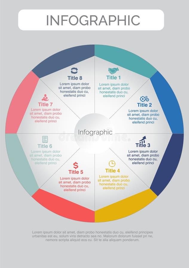Osiem kształta Infographics ikon Kolorowy projekt ilustracja wektor