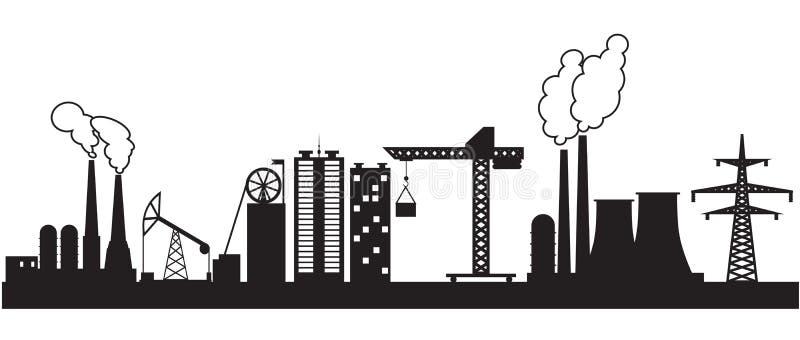 Osiem miastowy i przemysłowi budynki ilustracja wektor