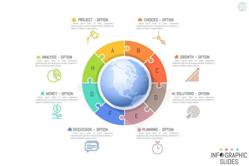 Osiem piszących list wyrzynarki łamigłówki kawałków lokalizować wokoło kuli ziemskiej 8 kroków sukces na globalnym rynku ilustracja wektor