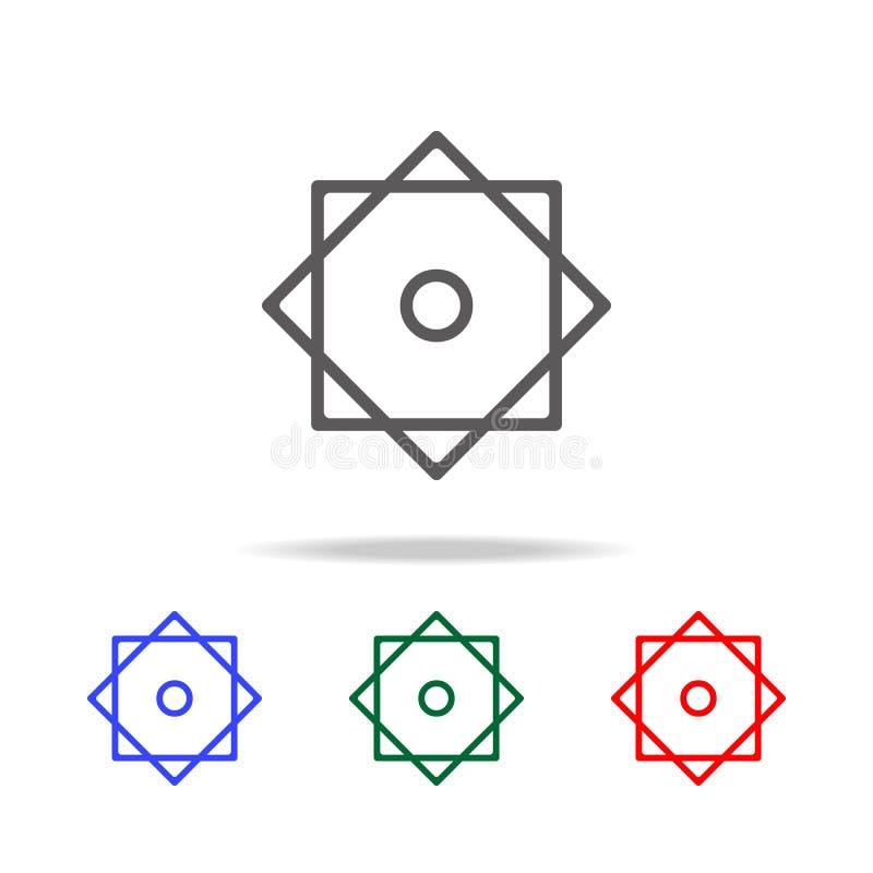 Osiem punktów gwiazdowa ikona Elementy w wielo- barwionych ikonach dla mobilnych pojęcia i sieci apps Ikony dla strona internetow ilustracji