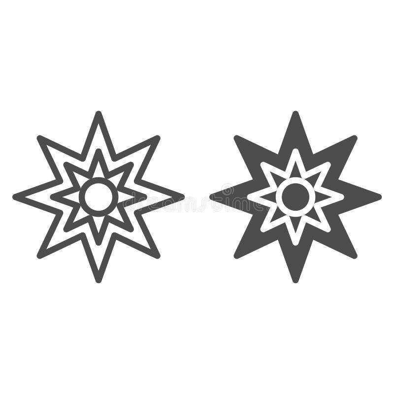 Osiem punktów gwiazdy linia i glif ikona Boże Narodzenia grają główna rolę wektorową ilustrację odizolowywającą na bielu Xmas gwi ilustracji