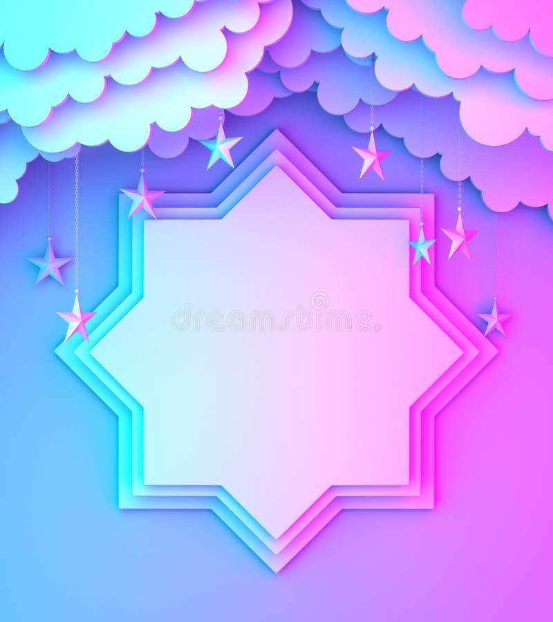 Osiem punktów gwiazdy papieru cięcie, chmura, gwiazda na błękit menchii tła kopii przestrzeni fiołkowym gradientowym tekscie royalty ilustracja