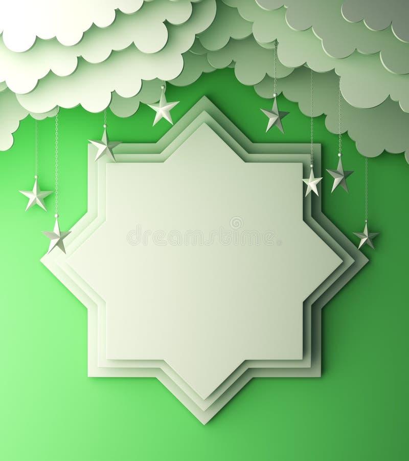 Osiem punktów gwiazdy papieru cięcie, chmura, gwiazda na zielonym pastelowym tło kopii przestrzeni tekscie royalty ilustracja
