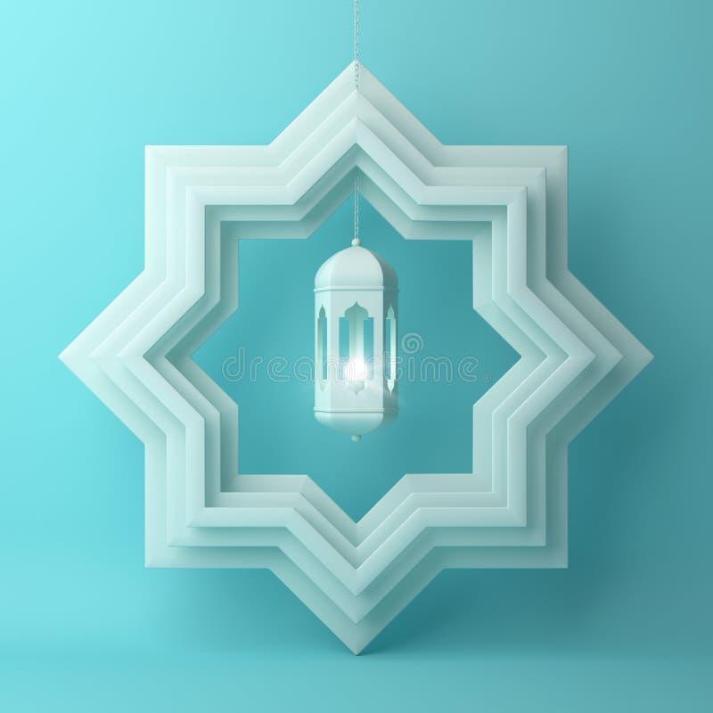 Osiem punktów gwiazdy papieru cięcie i obwieszenie lampa na błękitnym pastelowym tle royalty ilustracja