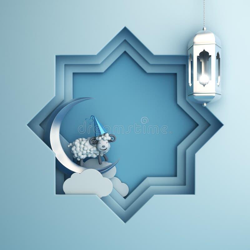 Osiem punktów gwiazdy papieru cięcie i obwieszenie lampa, półksiężyc księżyc, kreskówka cakiel na błękitnym pastelowym tle obraz stock