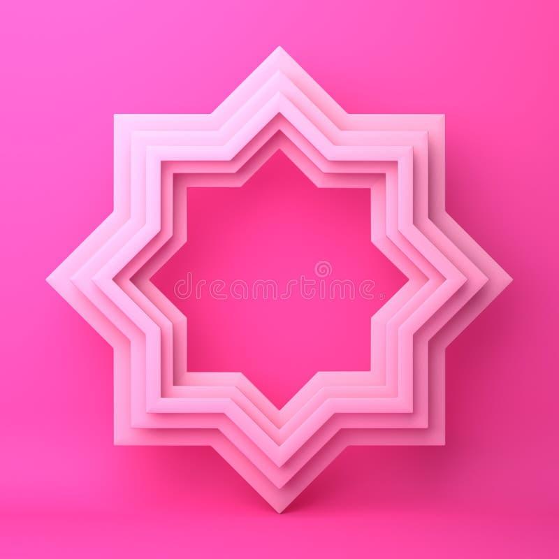 Osiem punktów gwiazdy papieru cięcie na różowym pastelowym tle ilustracji