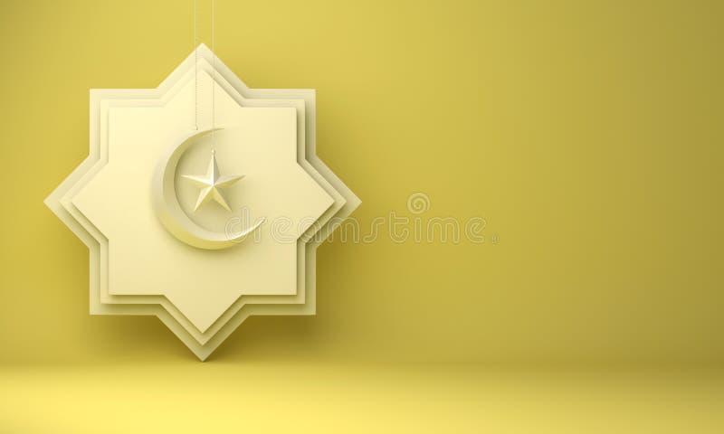 Osiem punktów gwiazdy papieru cięcie, wisząca półksiężyc księżyc i gwiazda na żółtym pastelowym tle, ilustracja wektor