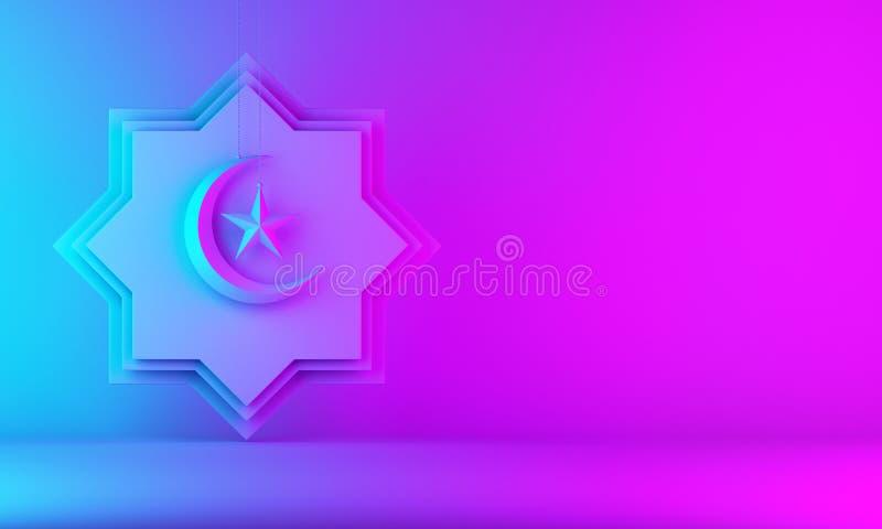 Osiem punktów gwiazdy papieru cięcie, wisząca półksiężyc księżyc i gwiazda na różowym błękitnym gradientowym tle, ilustracji