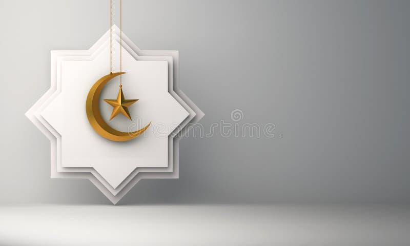 Osiem punktów gwiazdy papieru cięcie, złocista wisząca półksiężyc księżyc i gwiazda na białym tle, royalty ilustracja