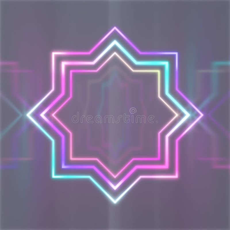 Osiem punkt gwiazdy menchii błękitnych neonowych świateł ilustracja wektor