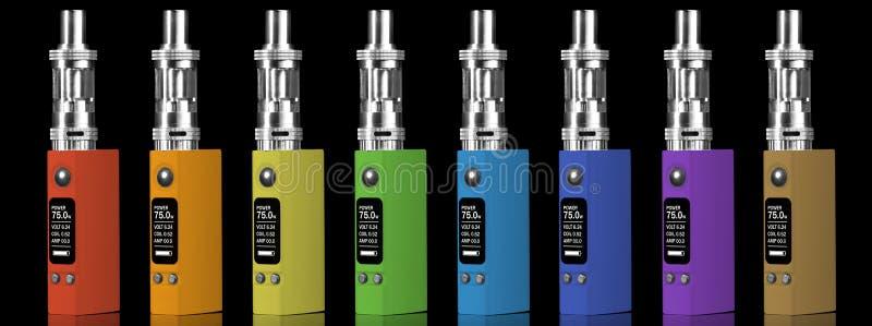 Osiem stubarwnych elektronicznych papierosów obraz royalty free