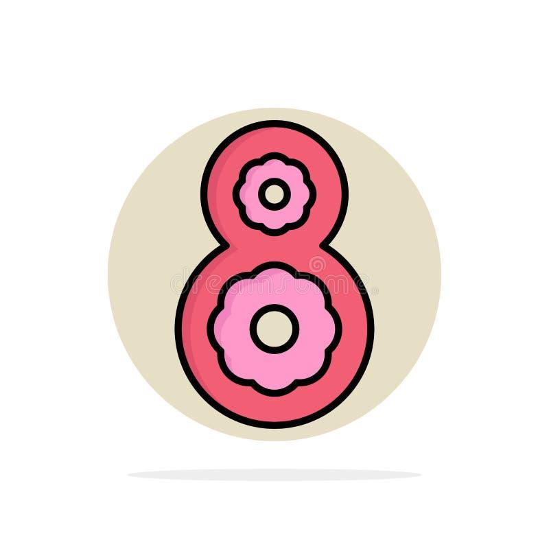 Osiem, 8th, 8, kwiatu okręgu Abstrakcjonistycznego tła koloru Płaska ikona ilustracja wektor