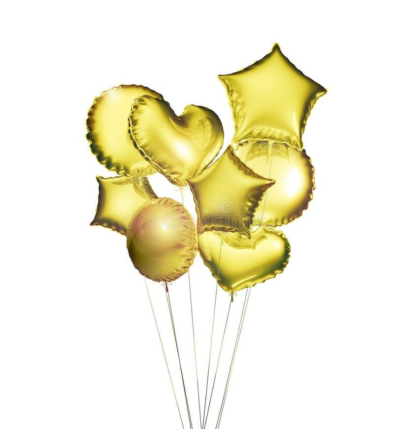Osiem złotych balonów w kształtach piłka, serca i gwiazdy odizolowywający na białym tle, świadczenia 3 d ilustracji