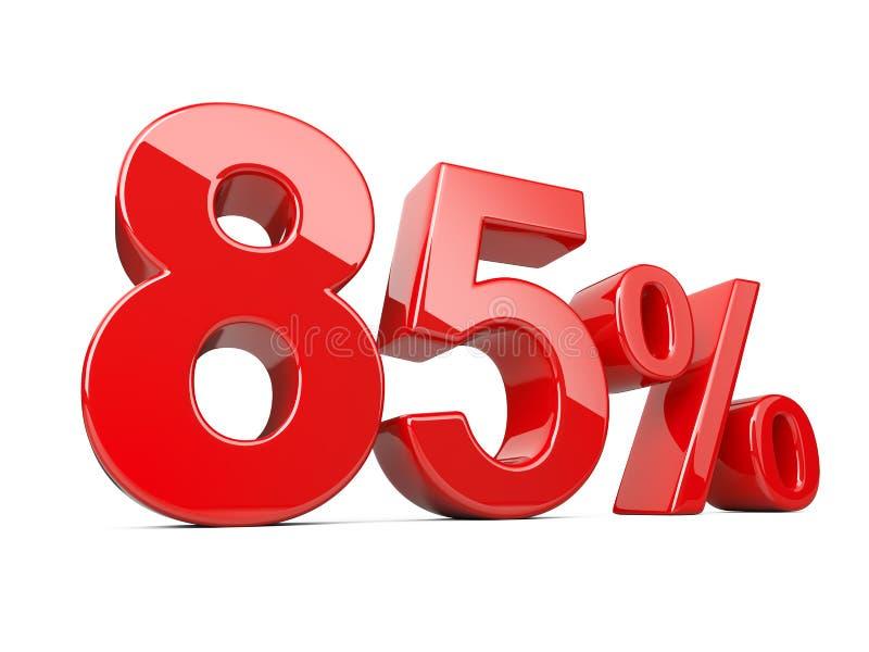 Osiemdziesiąt pięć czerwieni procentu symbol 85% odsetka tempo Dodatek specjalny daleko ilustracja wektor