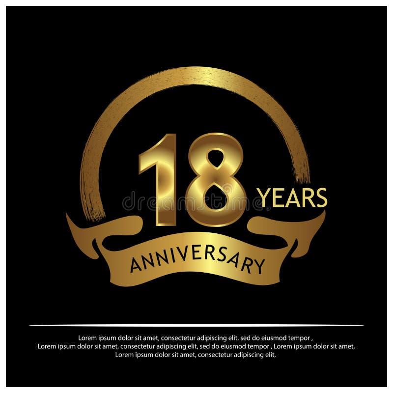 Osiemnaście rok rocznicy złotej rocznicowy szablonu projekt dla sieci, gra, Kreatywnie plakat, broszura, ulotka, ulotka, magazyn, ilustracja wektor