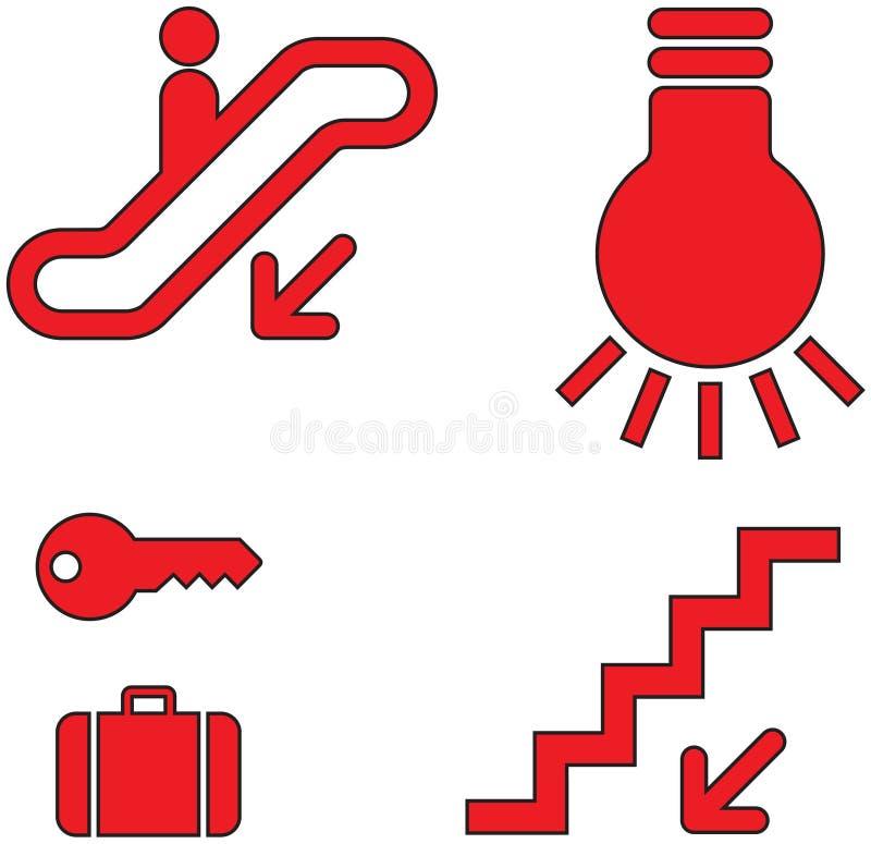 osiemnaście ikon czerwieni set ilustracja wektor
