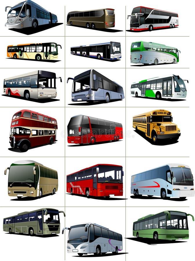 Osiemnaście miasto i Turystyczni autobusy royalty ilustracja