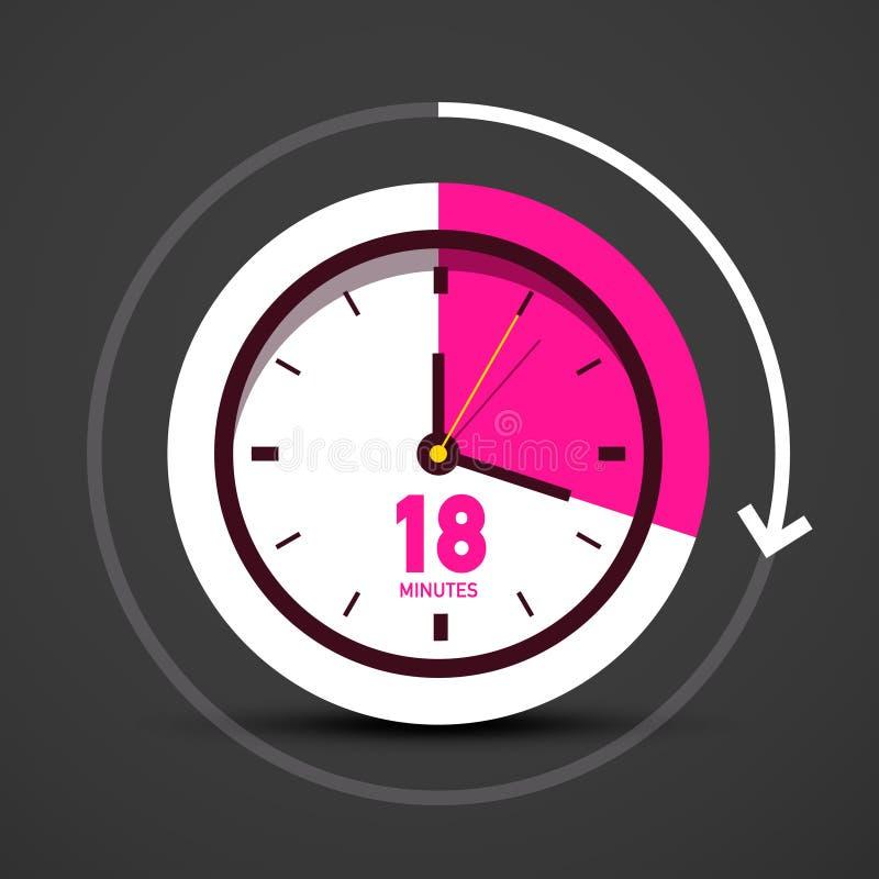 18 Osiemnaście minut ikona z zegarem Zegarka symbol ilustracja wektor