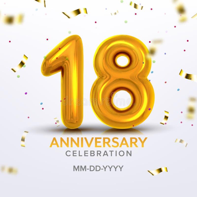 Osiemnaście rocznic świętowania liczby wektor ilustracja wektor