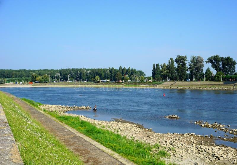 Osijek, Croatia, August 10, 2018. Drava river on sunny summer day in Croatian town Osijek stock photo