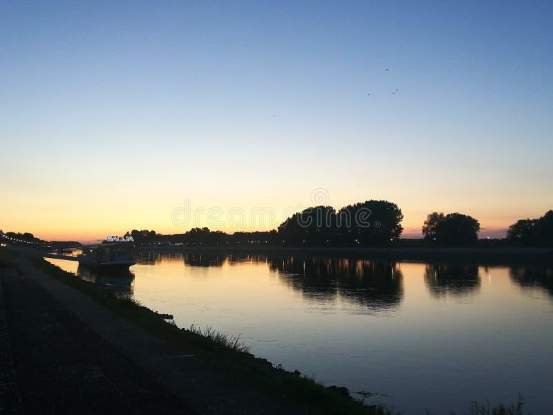 Osijek, Croatia. River Drava, city Osijek, Croatia stock photo