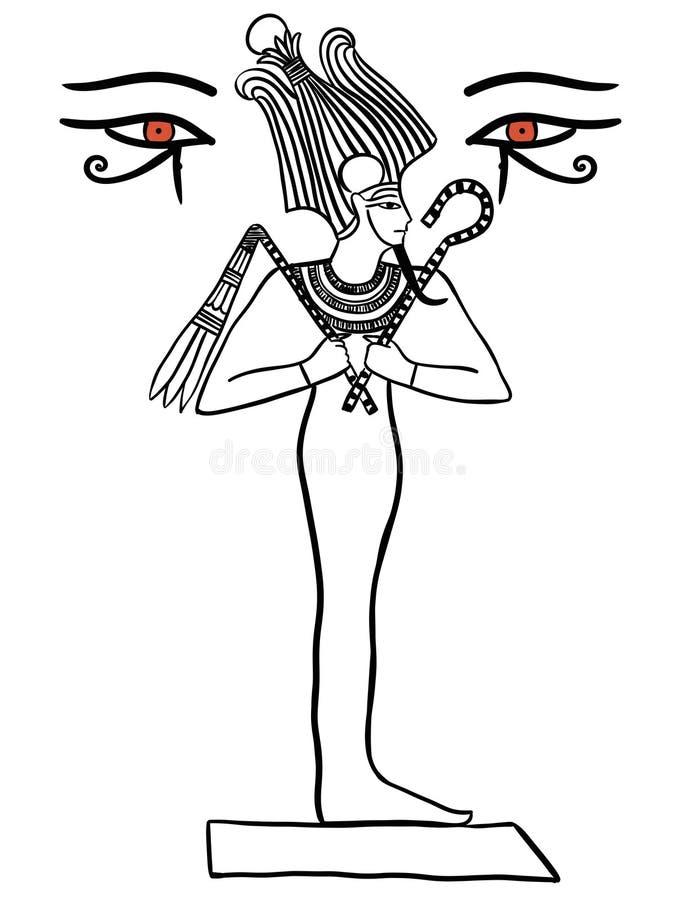 Osiris Egiptian上帝例证在白色隔绝的黑色线 库存例证