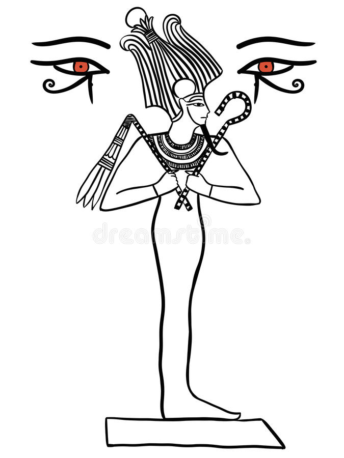 Osiris Egiptian God illustration black line isolated on white. Osiris Egyptian God illustration black line isolated on white stock illustration