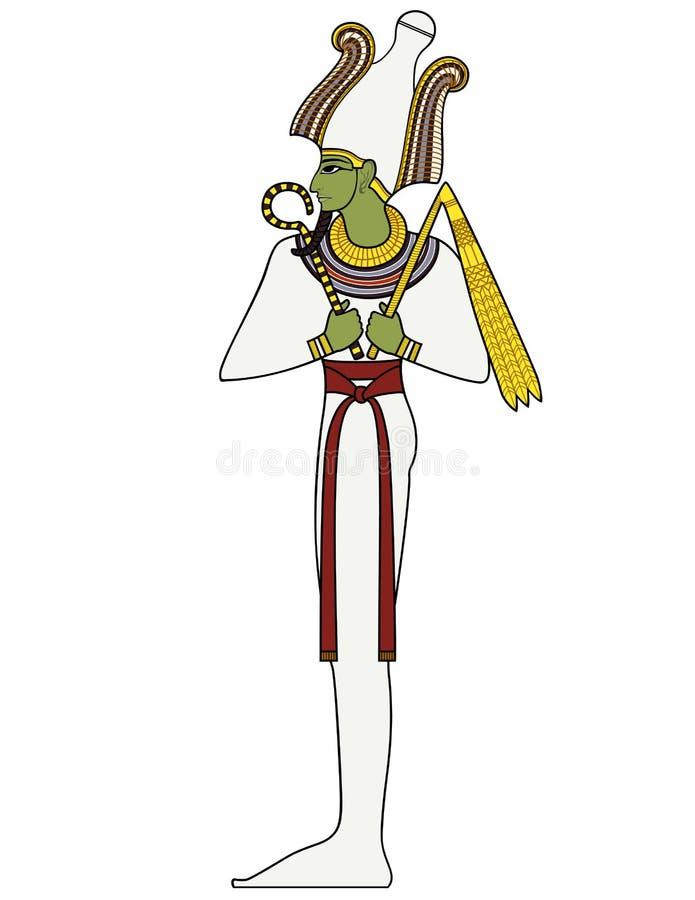 Osiris, figura isolata delle divinità di egitto antico illustrazione di stock