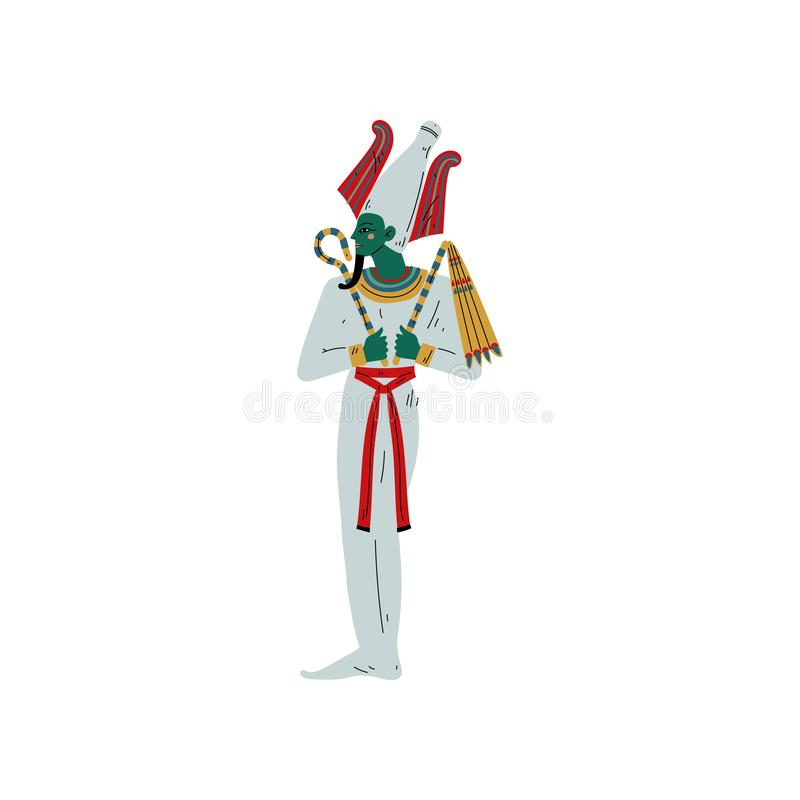 Osiris God of Underworld, Egyptian Ancient Culture Symbol Vector Illustration. On White Background royalty free illustration