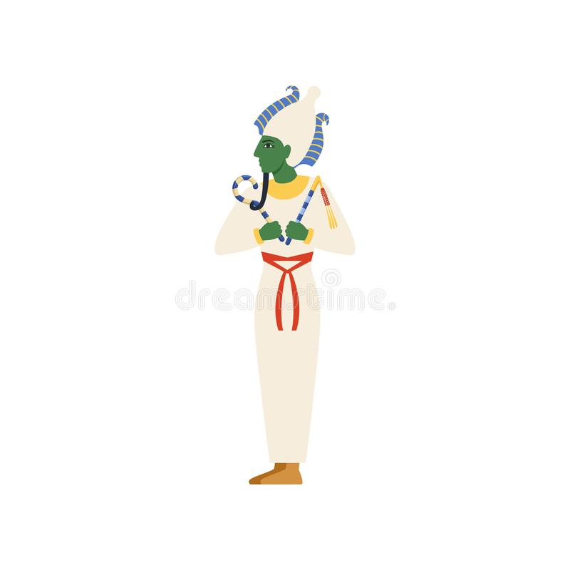 Osiris, the God of the underworld, Egyptian ancient culture vector Illustration. On a white background royalty free illustration