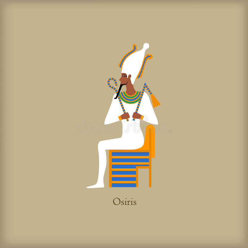 Osiris - God of the underworld icon, flat style. Osiris - God of the underworld icon in flat style on a brown background royalty free illustration