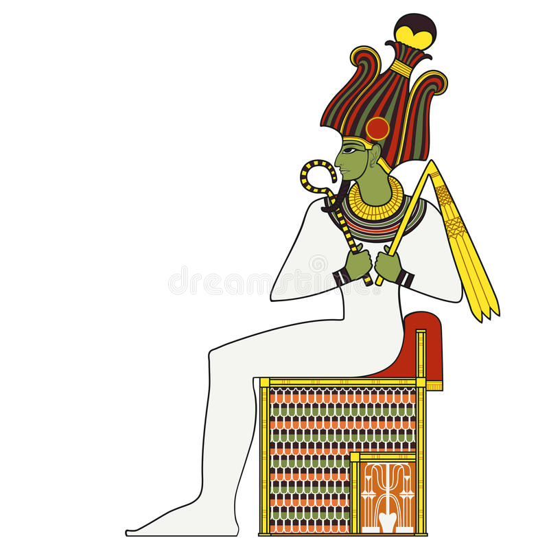 Osiris ,isolated figure of ancient egypt god. Egyptian ancient symbol, isolated figure of ancient egypt deities royalty free illustration