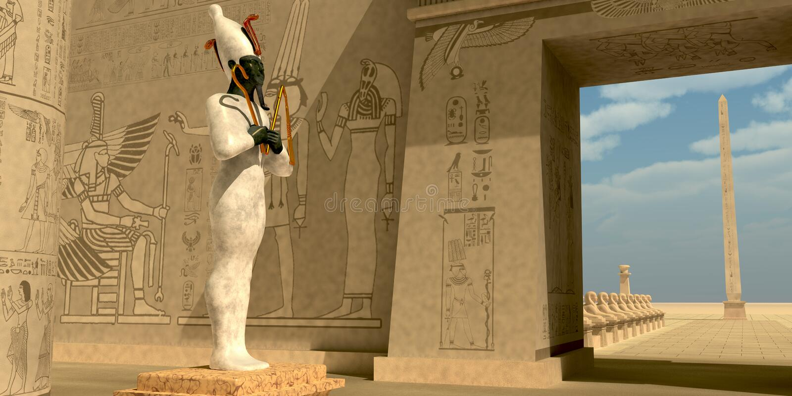 Osiris Statue in Pharaoh Temple. Osiris in Pharaoh`s temple was known as an Egyptian god of the afterlife and resurrection stock illustration