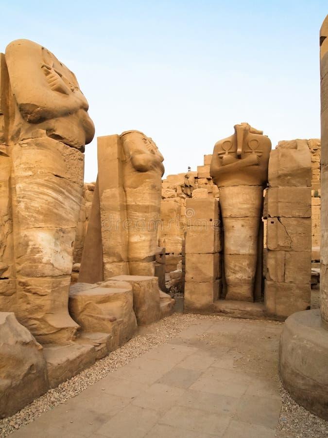Osiris statues in Karnak Temple royalty free stock photo
