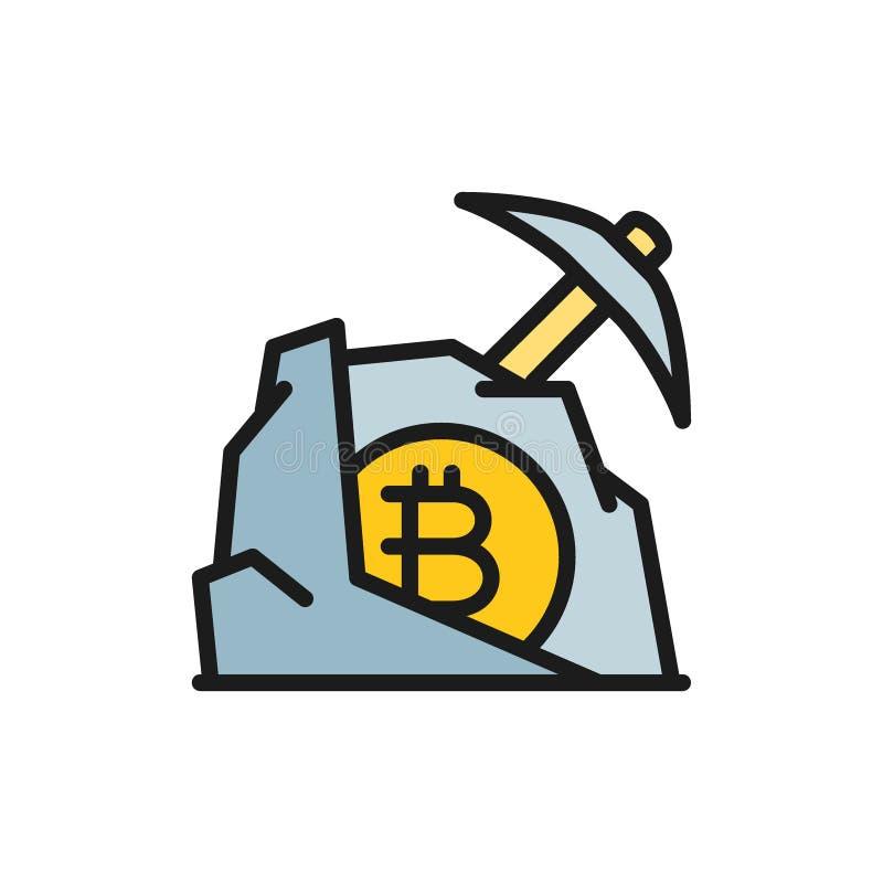 Oskard z kamiennym bitcoin, blockchain, cryptocurrency koloru płaska ikona royalty ilustracja