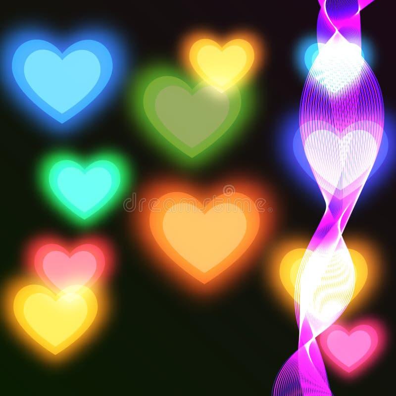 Oskarp ljus bakgrund med färgade hjärtor royaltyfri illustrationer