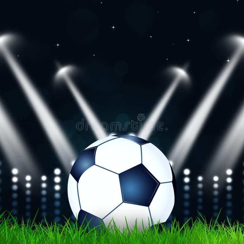 Oskarpa ljus för fotbollbollwitl stock illustrationer